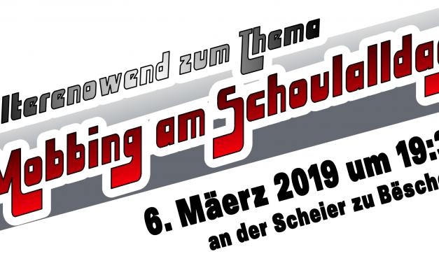 """06/03/2019 – Elterenowend """"Mobbing am Schoulalldag"""" — MERCI —"""